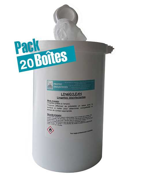 LINGECLEAN : carton de 12 boîtes de 130 lingettes bactéricides