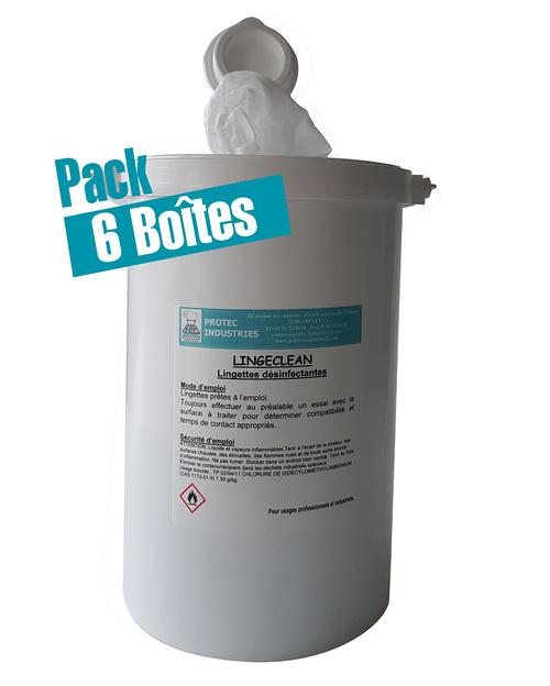 LINGECLEAN : Pack de 6 boîtes de 130 lingettes bactéricides